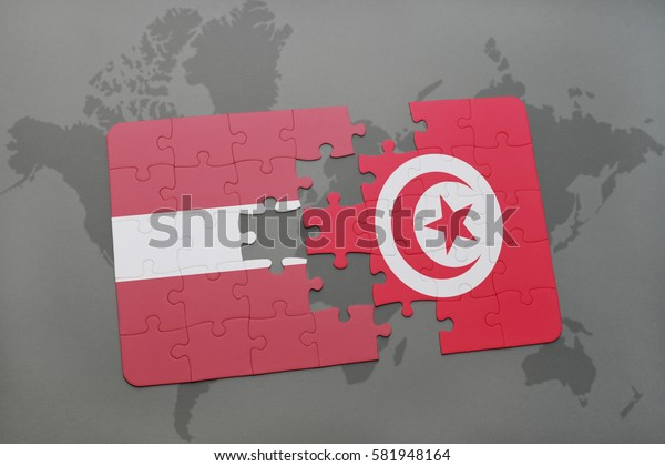 puzzle with the national flag of latvia and tunisia on a world map background. 3D illustration