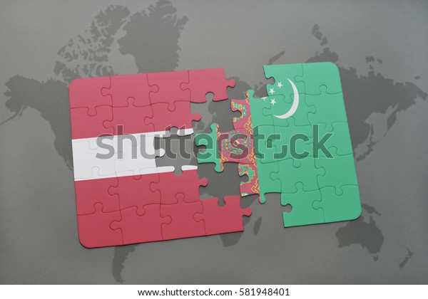 puzzle with the national flag of latvia and turkmenistan on a world map background. 3D illustration