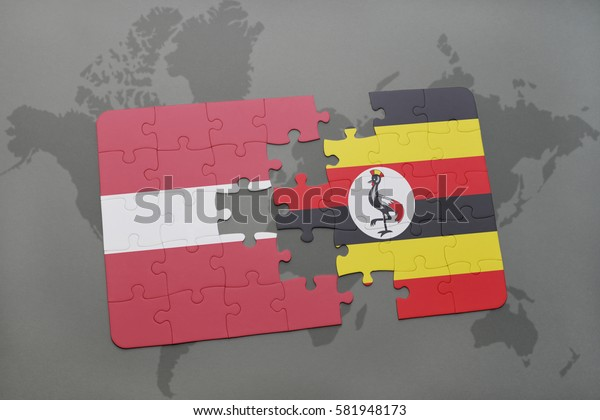 puzzle with the national flag of latvia and uganda on a world map background. 3D illustration