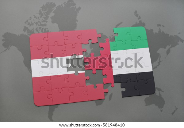 puzzle with the national flag of latvia and united arab emirates on a world map background. 3D illustration