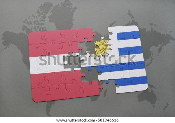puzzle with the national flag of latvia and uruguay on a world map background. 3D illustration