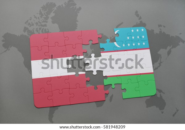 puzzle with the national flag of latvia and uzbekistan on a world map background. 3D illustration