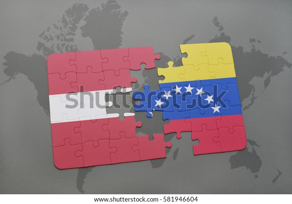 puzzle with the national flag of latvia and venezuela on a world map background. 3D illustration