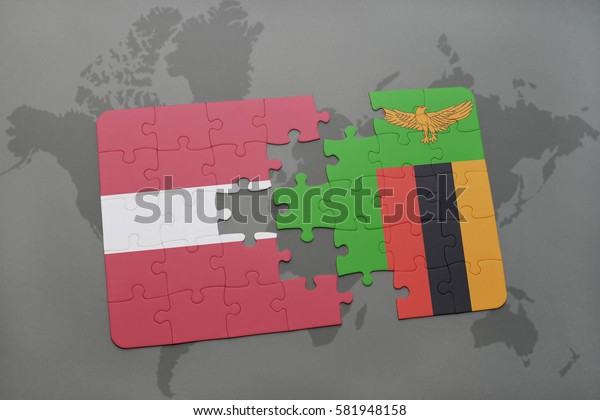 puzzle with the national flag of latvia and zambia on a world map background. 3D illustration