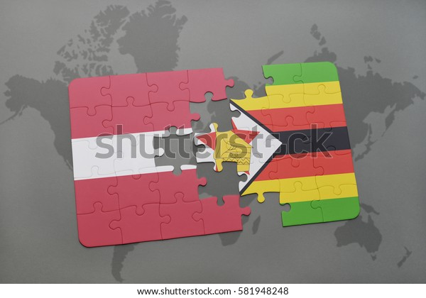 puzzle with the national flag of latvia and zimbabwe on a world map background. 3D illustration