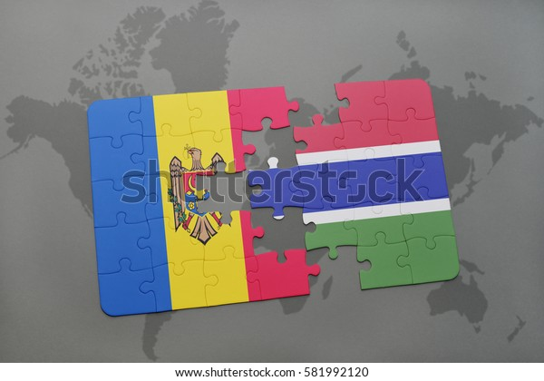 puzzle with the national flag of moldova and gambia on a world map background. 3D illustration