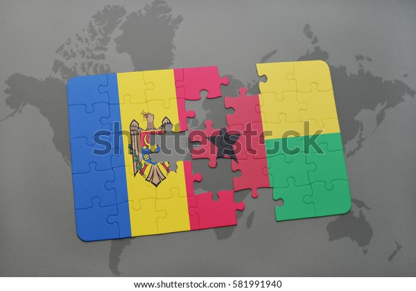 puzzle with the national flag of moldova and guinea bissau on a world map background. 3D illustration