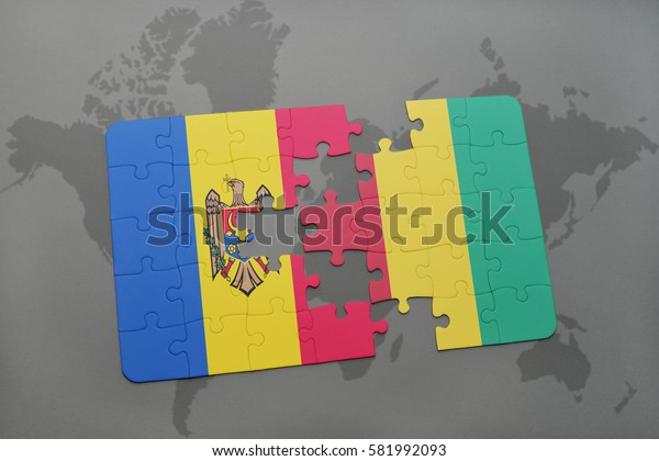 puzzle with the national flag of moldova and guinea on a world map background. 3D illustration