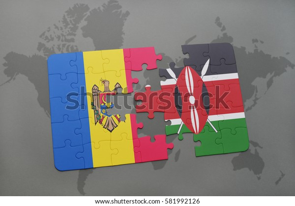puzzle with the national flag of moldova and kenya on a world map background. 3D illustration