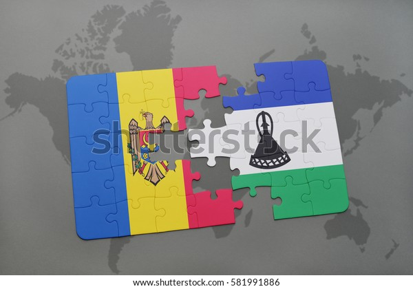 puzzle with the national flag of moldova and lesotho on a world map background. 3D illustration