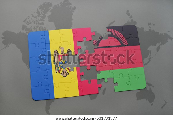 puzzle with the national flag of moldova and malawi on a world map background. 3D illustration