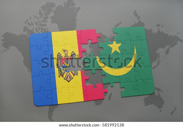 puzzle with the national flag of moldova and mauritania on a world map background. 3D illustration