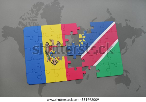 puzzle with the national flag of moldova and namibia on a world map background. 3D illustration