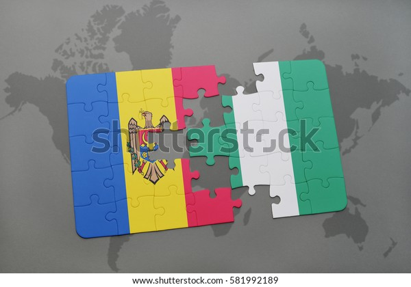 puzzle with the national flag of moldova and nigeria on a world map background. 3D illustration