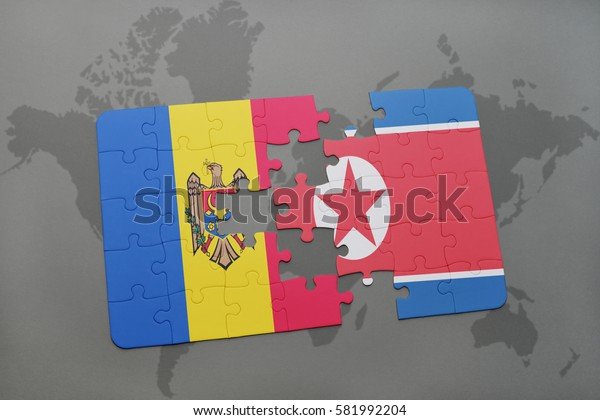 puzzle with the national flag of moldova and north korea on a world map background. 3D illustration