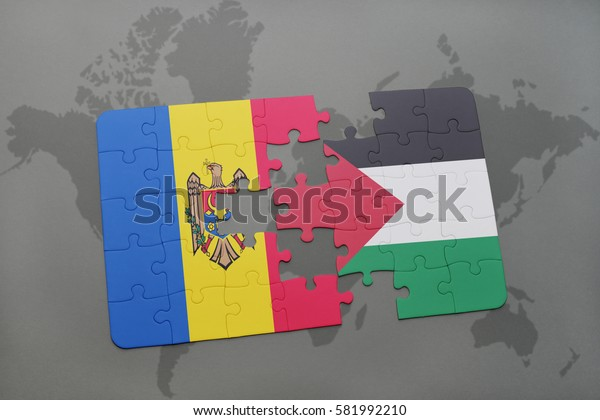puzzle with the national flag of moldova and palestine on a world map background. 3D illustration