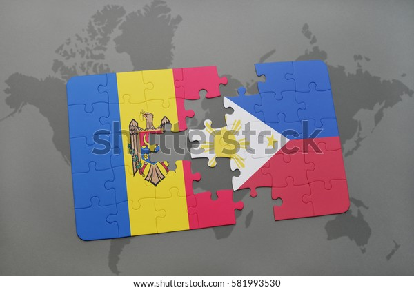 puzzle with the national flag of moldova and philippines on a world map background. 3D illustration