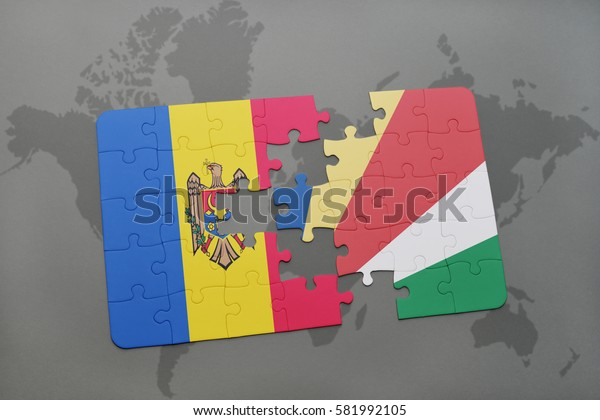 puzzle with the national flag of moldova and seychelles on a world map background. 3D illustration