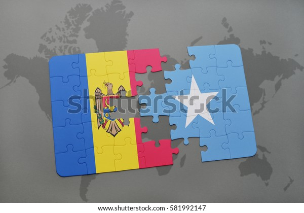 puzzle with the national flag of moldova and somalia on a world map background. 3D illustration