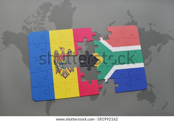 puzzle with the national flag of moldova and south africa on a world map background. 3D illustration