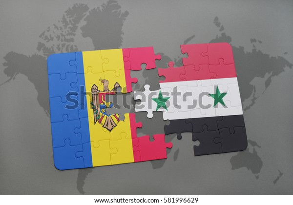 puzzle with the national flag of moldova and syria on a world map background. 3D illustration