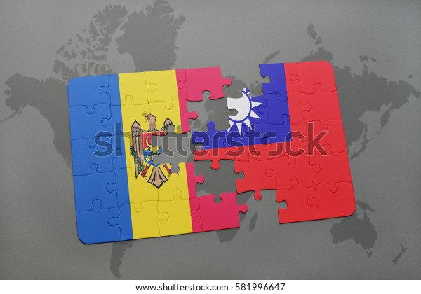 puzzle with the national flag of moldova and taiwan on a world map background. 3D illustration
