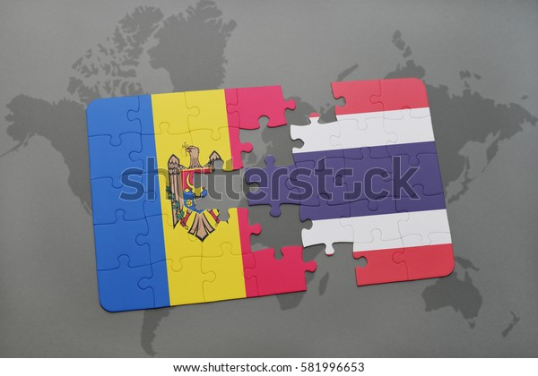 puzzle with the national flag of moldova and thailand on a world map background. 3D illustration