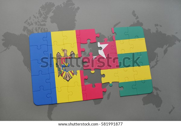 puzzle with the national flag of moldova and togo on a world map background. 3D illustration
