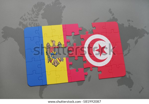 puzzle with the national flag of moldova and tunisia on a world map background. 3D illustration
