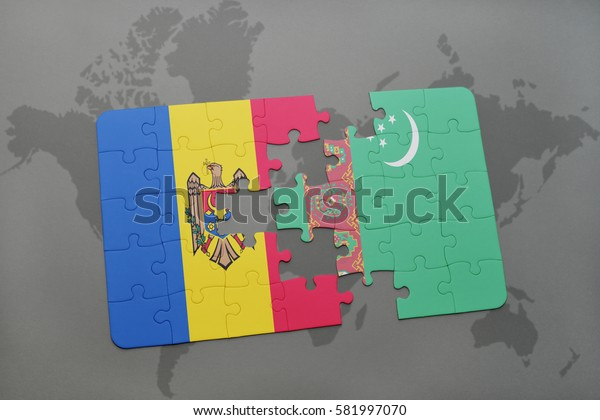 puzzle with the national flag of moldova and turkmenistan on a world map background. 3D illustration