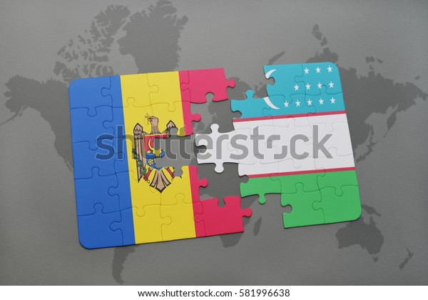 puzzle with the national flag of moldova and uzbekistan on a world map background. 3D illustration