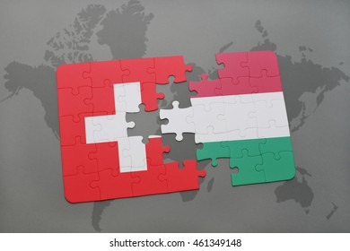puzzle with the national flag of switzerland and hungary on a world map background. 3D illustration