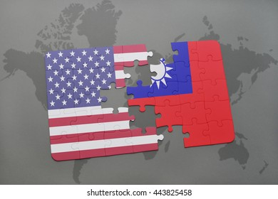 puzzle with the national flag of united states of america and taiwan on a world map background