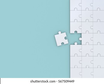 Puzzle on blue background. 3D illustration