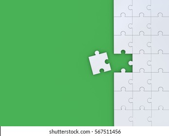 Puzzle on green background. 3D illustration