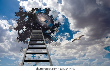 Puzzle Piece Hole in Sky, Falling Pieces and Ladder. Seagull in flight. 3D rendering