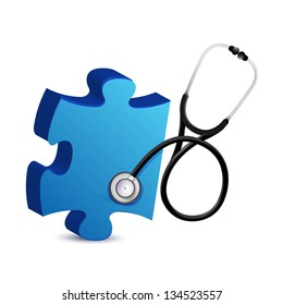 puzzle piece with a Stethoscope illustration design over white
