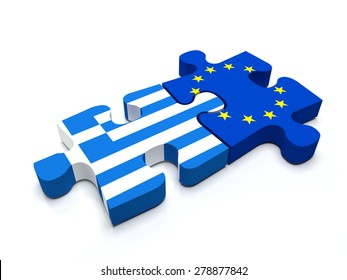 Puzzle pieces connect a piece containing the Greece flag and the European Union flag.