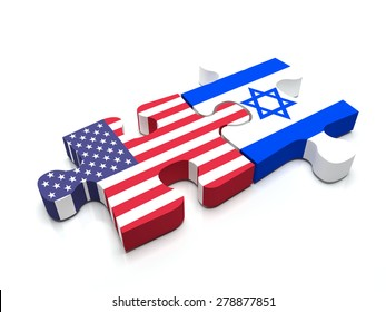 Puzzle pieces connect a piece containing the US flag and the Israeli flag.