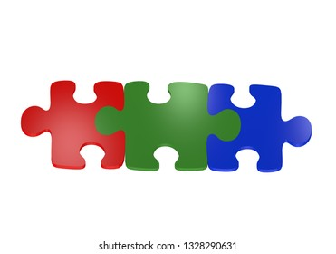 Puzzle pieces in red, green and blue. Top view, isolated on white. 3d rendering