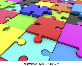 Puzzle pieces in various colors