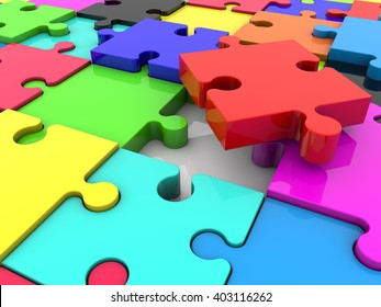 Puzzle pieces in various colors.3d illustration.