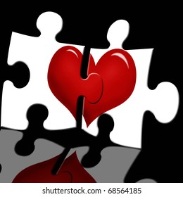 puzzle with red heart in two white pieces on black glass background