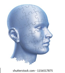 Puzzle Shaped Human Head isolated on White Background, 3D illustration