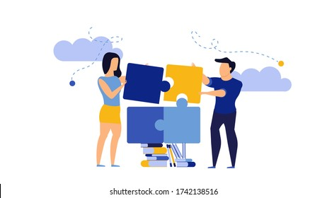 Puzzle teamwork man and woman business partnership communication. People work with books concept illustration. Together create piece jigsaw solution. Cooperation office human idea. Planning job