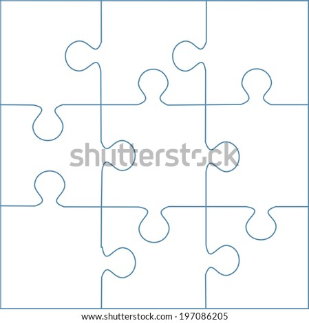 puzzle template 9 pieces stock illustration 197086205 shutterstock