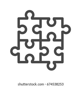 Puzzle Thin Line Icon. Flat icon isolated on the white background.
