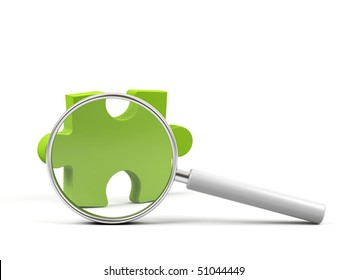 Puzzle under magnifying glass on white background.