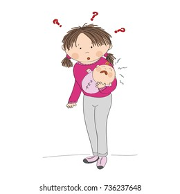 Puzzled young mother holding her crying baby girl. What to do? Why it is crying? Original hand drawn illustration.