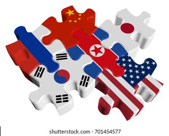 Puzzles in 3d - Six-Party talks on the problem of North Korea (North Korea, South Korea, USA, Russia, China, Japan) isolated on a white background